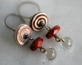 October Sale Red Brown Dangle Earrings, Polymer Clay, Brown Swirl, Boho, Faceted Red Brown Agate, Clear Glass Drops