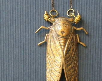 October Sale Cicada Pendant Brass Insect Necklace