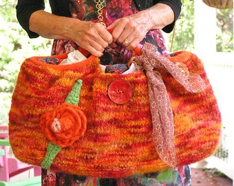 Fireball  -  A Large Felted Tote in Autumn Shades of  Variegated Oranges