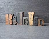 BELOVED  - Vintage Letterpress Printing Block Word