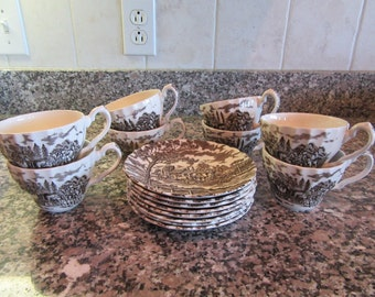 Set of 8 Royal Mail Staffordshire (England) brown and white cups and saucers - beautiful, fine condition, some light crazing on some pieces
