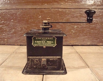 Old black metal coffee mill- rustic, vintage, Universal, USA- functional, solid