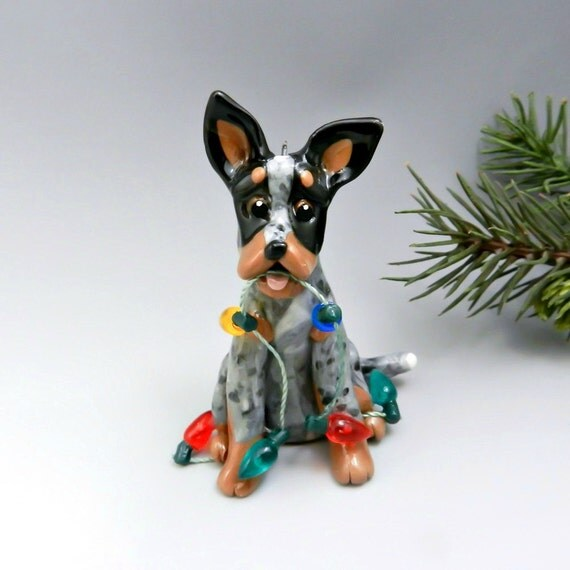 Blue Heeler Dog Christmas Ornament Figurine Lights Porcelain