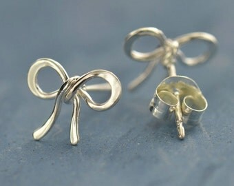 NEW - Sterling Silver Bow Post Earrings - Solid 925 - Insurance Included