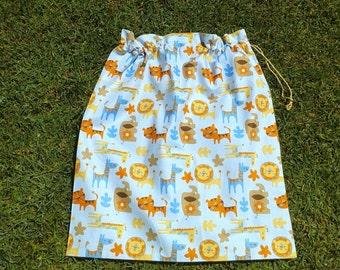 Large drawstring bag for kids, safari animals blue cotton drawstring bag
