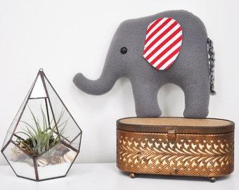 Curious Gray Plush Elephant - Striped Ears - READY TO SHIP