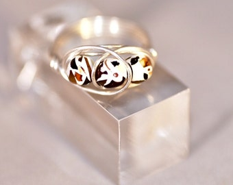 Mosaic Amber Wire Wrapped Ring
