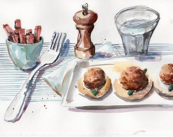 Delicious meatballs original watercolour artwork - for a housewarming or kitchen wall art (SALE)