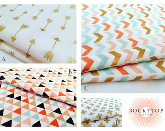 Coral, Mint, Pink and Metallic Gold Baby Girl Bedding Fabrics - The Siesta Collection