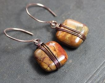 Picasso Jasper Earrings Copper Wire Wrapped Rose Gold Orange Green Fall Color Gemstone Earrings Rustic Jewelry