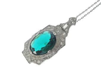 Antique Emerald Art Deco Pendant, Art Deco Necklace, Vintage 1920s Antique Jewelry, Emerald Necklace, Wedding Jewelry