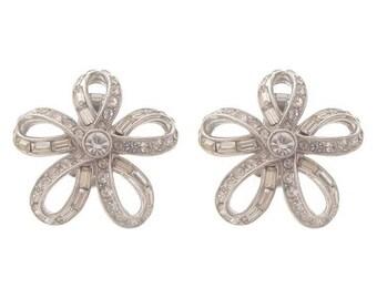 ORA Vintage Earrings, Baguette Crystal Clip Ons, 1940 Fine Designer Vintage Jewelry, Wedding Jewelry