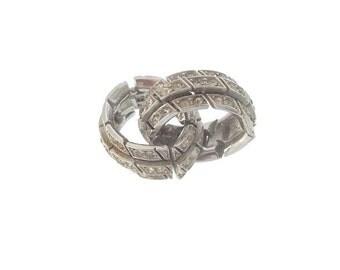 Vintage ORA Earrings, Designer Hoop Clip On Rhinestone Earrings, Wedding Jewelry. 1940 Fine Vintage Jewellery