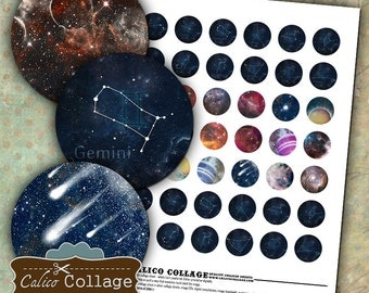 Galaxy Zodiac, Collage Sheet, 1 inch Circles, Nebula Collage Sheet, Bottlecap Images, Decoupage Paper, Space Collage Sheet, Collage Sheets