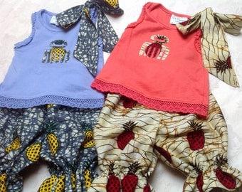 Girls African Adinkra symbol summer top and knickerbocker shorts