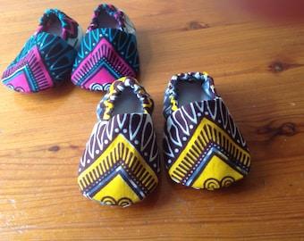 Baby crib shoes booties in African wax Ankara print