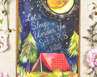 Let's Sleep Under the Stars - Greeting Card