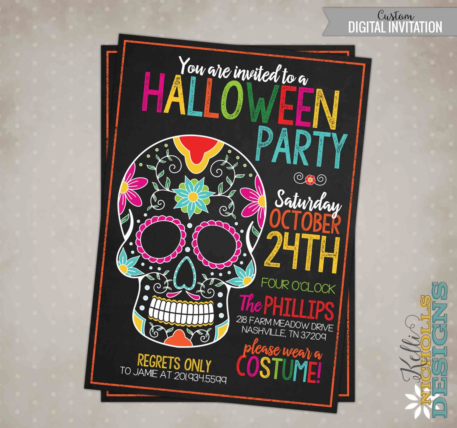 Spooky Halloween Party Invitation, Day of the Dead Invite - My ...