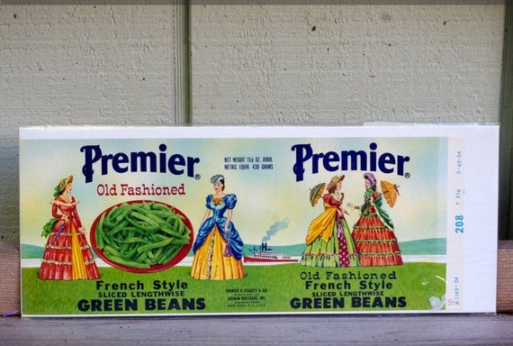 Vintage Premier Old Fashioned French Style Green Beans Label