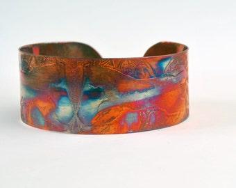 Coloured copper lynx cuff, Multi coloured copper cat bangle, medium rainbow surgical copper cuff