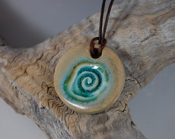 """Beach Pottery Pendant-Glass Infused-Turquoise and Sand Glaze 1 1/2""""D J24"""