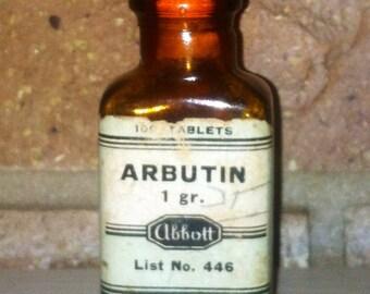 20's Arbutin amber glass bottle vintage Abbott Laboratory 1920's beauty apothecary