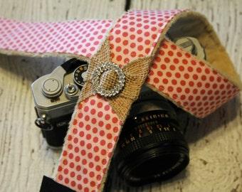 dSLR Camera Strap. Camera Strap. Burlap Camera Strap. Camera Neck Strap. Polka Dot Camera Strap. Cute Camera Strap. Padded Camera Strap.