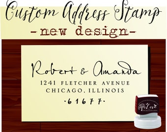 Custom Return ADDRESS STAMP Personalized Self Inking Calligraphy Stamper - style 9013B
