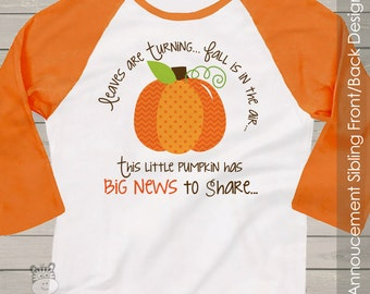 pumpkin big sister shirt- big sister to be fall or halloween pregnancy announcement RAGLAN sleeves BSLPBNR