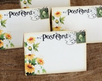 Wedding Place Cards Vintage Style Yellow Daisy Flower Postcard Tent Style Place Cards or Table Place Cards #141