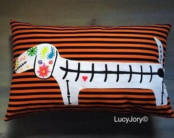 REDUCE Dachshund Halloween Pillow Sugar Skull