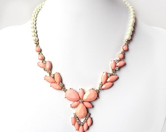 Coral Petal Necklace - Acrylic Coral and Gold Necklace - Beaded Statement Necklace - Coral Pink Peach Bib Necklace - Ivory or White Pearls