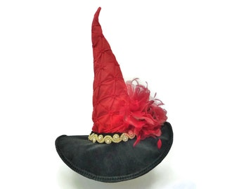 "Witch Hat, Witch's Costume Hat, Burlesque Witch Hat, Witch's Tea Party Hat in Lipstick Red with Feathers and Floral- ""A Red Rose to Die For"""