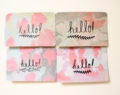 Marbled Postcard - hello  - Set of Eight - Free Shipping - Beautiful Hand Marbled Paper Postcard Set for Writing Snail Mail - Penpal