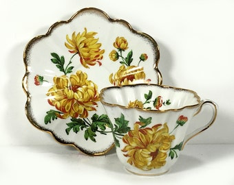 Vintage Rosina Tea Cup and Saucer, Golden Dahlia, Scalloped Rim, Fluted Sides, Bone China, Made in England