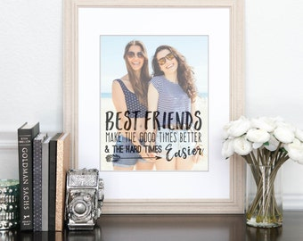 Best Friend Gift, Birthday Gift for Her, Best Friend Quotes, Unique Friendship Gift // ArtPaper Print or Canvas Print // H-Q67-1PS ZZ1