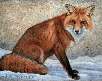 "Fox in Snow, signed and matted print from an original painting by Eden Bachelder, Matted to 11"" x 14"", Image 7"" x 10"", red fox"