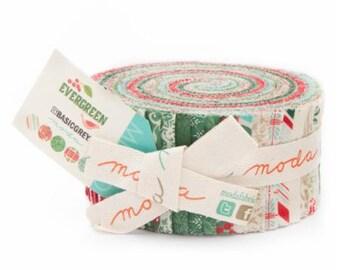 Christmas Fabric Evergreen Jelly Roll by Basic Grey for Moda Fabrics