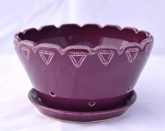 Grape Purple Berry Bowl - Ceramic Colander - Stoneware Pottery