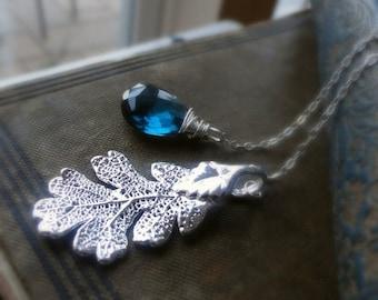 2-DAY 20% OFF SALE Oak Leaf Necklace, London blue topaz, Lariat necklace, real leaf necklace, leaf jewelry, blue topaz necklace, december bi
