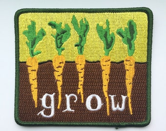 Embroidered Iron On Patch Grow Carrots Garden