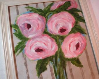 Shabby Pink Roses Painting - 13x16 framed -Original Art - Shabby Love- Cottage Chic - Stripe background