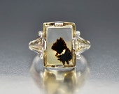 Antique Dendritic Agate Ring, Moss Agate Ring, Art Deco Ring, Gold Ring, Picture Agate Ring, Sterling Silver Ring Picture Agate Otsby Barton