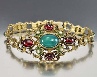 Garnet Bracelet, Chrysoprase Pearl Bracelet, Austro Hungarian Bracelet, Victorian Jewelry, Antique Jewelry, Enamel Flower Victorian Bracelet