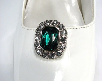 Emerald Green Shoe Clips with White Rhinestones Octogon Shape 1 Pair Prom Wedding Jewels for your Shoes
