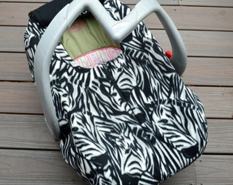 Zebra Faces Car Seat Cover for Baby, Fall, Winter, Spring, Canopy Alternative, Fleece with Zipper and Elastic