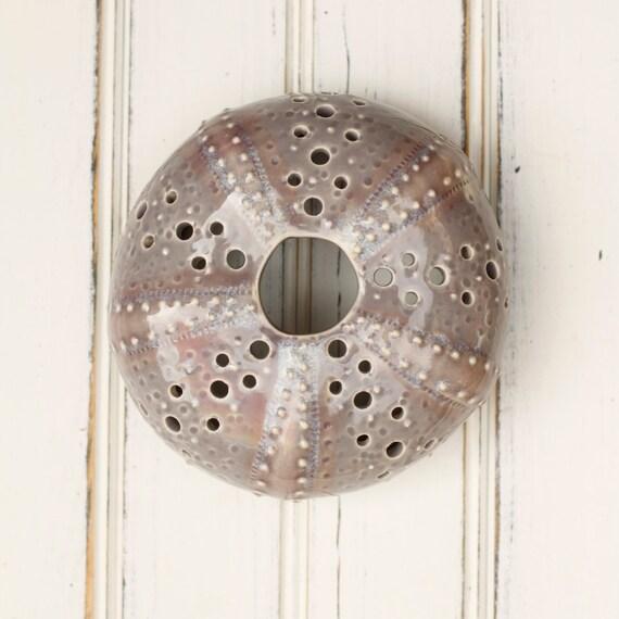medium urchin wall hanging, urchin tabletop sculpture,  grey