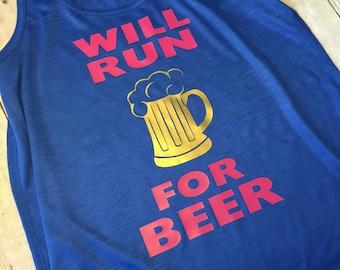 Will run for beer Racerback flowy tank