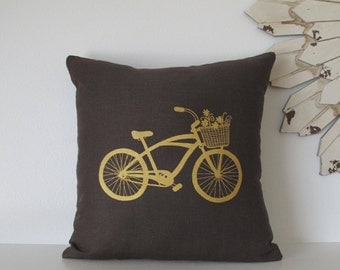 Pillow Cover - Cushion Cover - Cruiser Bike with Basket  - 16 x 16  inches - Choose your fabric and ink color