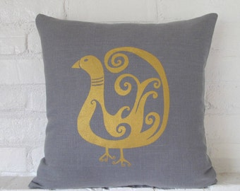 Pillow Cover - Cushion Cover - Bird  - 16 x 16  inches - choose your fabric and ink color - Accent Pillow